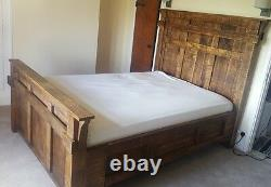 Solid Wood Rustic Chunky Plank Majestic Panel Bed Wooden Kingsize Made To Order
