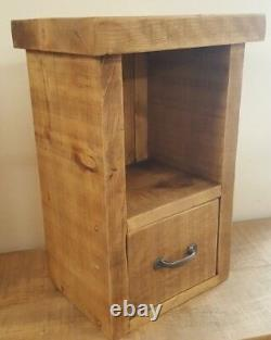 Solid Wood Rustic Chunky Plank Wooden Bedside Table With One Drawer