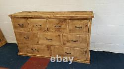 Solid Wood Rustic Chunky Plank Wooden Multi Drawer Lowboy Chest Made To Measure