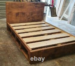 Solid Wood Rustic Chunky Storage Bed Built In Cubby Hole Kingsize Wooden Bed