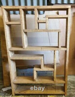 Solid Wood Rustic Chunky Wooden Random Shelf Bookcase Unit Display Bookcase