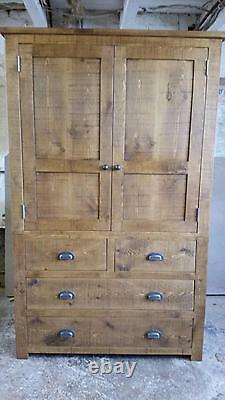 Solid Wooden Tall Larder Cupboard Unit Rustic Plank Pine Furniture BESPOKE