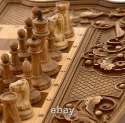 Stunning wooden chess+backgammon set Board carved handmade gift exclusive