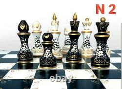 Stunning wooden chess set hand Board and pieces hand painted great gift exclusiv