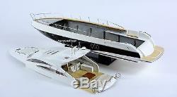 Sunseeker Predator 62 Yacht Handmade Wooden Boat Model RC Convertible 34