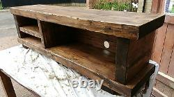 TV stand Chunky Rustic Side Table Wooden Sleeper 130cm cabinet lcd plasma coffee