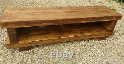 TV stand Chunky Rustic Side Table Wooden Sleeper 150cm cabinet lcd plasma