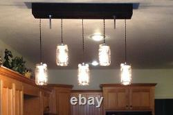 The Breakfast Bar Mason Jar Pendant Light with Wooden Canopy