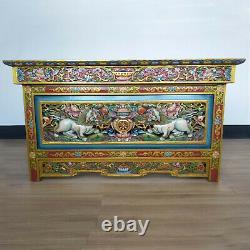 Tibetan Finest Buddhist Chokchi Wooden Carved Foldable Tea Table Nepal