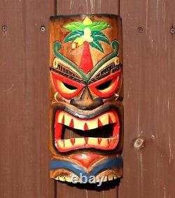 Tiki Mask Wooden 30cm Wall Hanging Handcarved Painted Bar Garden Pub Decoration