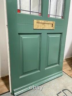 Timber Windows-handmade-bespoke Wooden Front Door-stained Glass-exterior-green