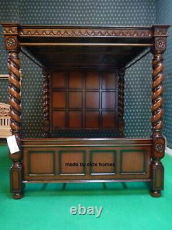 UK STOCK 6' Super King Mahogany wooden four poster canopy Tudor Bed with roof