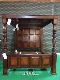 UK Super King 6' Jacobean Tudor style mahogany Four Poster wooden canopy bed