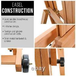 U. S. Art Supply Master Multi-Function Studio Artist Wooden Easel, Adjust H-Frame