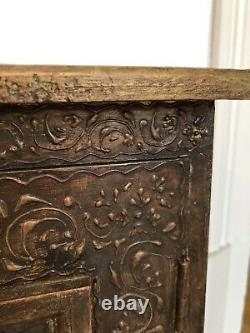 VINTAGE FAR EAST EASTERN INDIAN LARGE HAND PAINTED WOODEN CUPBOARD £190 each