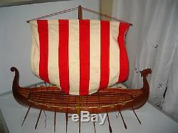 Viking Dragon boat high quality hand made wooden model ship 32