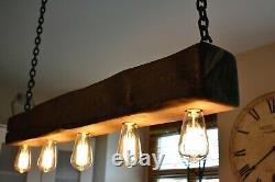 Vintage Ceiling Light Rustic Lamp Wooden Beam 5 X E27 HANDMADE