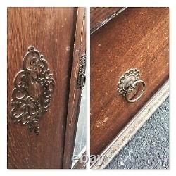 Vintage Double Wardrobe with drawer 2 Door Mirrored Wooden storage