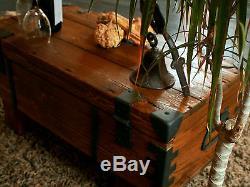 Vintage Travel Trunk Wooden Coffee Table Cottage Steamer Pine Chest Storage Box