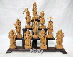 Vishnu Ten Avatar Sculpture Dashavatar Hindu God Wooden Temple Statue Idol Decor