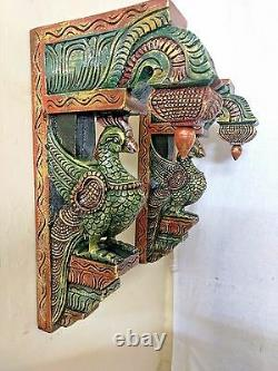 Wall Hanging Bracket Peacock Sculpted Corbel Pair Wooden Statue Home Decor Rare