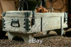 White Wooden Coffee Table Travel Old Chest Trunk Cottage Steamer Vintage Rustic