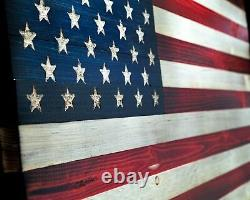Wooden American Flag Rustic Decor Handcrafted