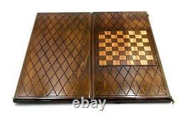 Wooden BACKGAMMON BOARD SET GAME Armenian Nardy wood chess carved HANDMADE
