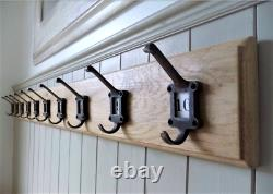 Wooden Coat Rack Vintage Style Cast Iron School Hooks Oak Wood Handmade