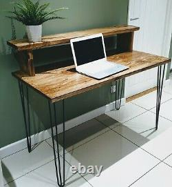 Wooden Desk With Monitor Shelf Reclaimed Timber Home Office Work from Home