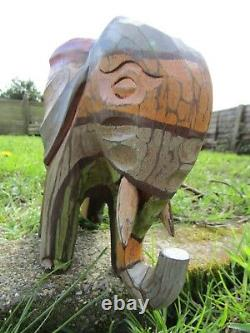 Wooden Elephant Rainbow Fair Trade Hand Carved Made Sculpture Ornament Statue