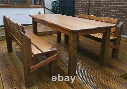 Wooden Garden Bench Rustic Chunky Dark Oak stained Outdoor Patio Furniture