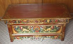 Wooden Hand Crafted Tibetan Design Foldable Tea Table From Nepal