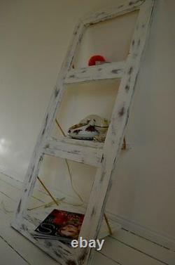 Wooden Hand Made Ladder Wall Shelf Door Shelf Shabby Chic Leaning Wall Shelf
