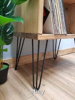 Wooden Industrial Vinyl LP Record Player Storage Stand Hairpin Legs
