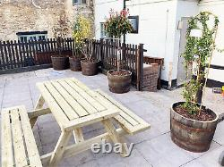 Wooden Mitred Corner Heavy Duty Garden Picnic Pub Patio Bench Table 4ft 5ft 6ft