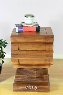 Wooden Open Top Stacked Book Side Table Lamp Plant Stand Brown Secret Storage
