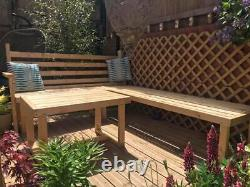 Wooden Outdoor Sofa Garden/ Patio, Medium Corner Sofa + Coffee Table