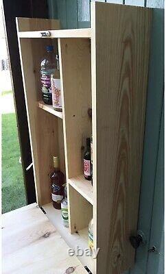 Wooden Outside Wall Hung Bar With Drop Down Legs Ideal For Beer, Wine and Gin