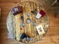 Wooden Round Industrial Coffee Table Cable drum reel Upcycled Bespoke 60 -100cm