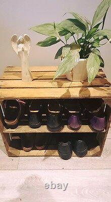 Wooden Shoe Rack Pack Of 10 Handmade Vintage Style Cottage Storage Apple Crate