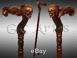 Wooden Skull Head Walking Cane Stick for men Ergonomic Handle Original GC-Artis