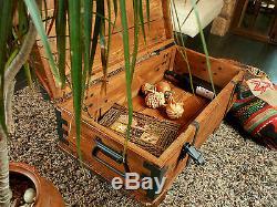 Wooden Storage Trunk Coffee Table Antique Retro Steamer Pine Chest Vintage Box