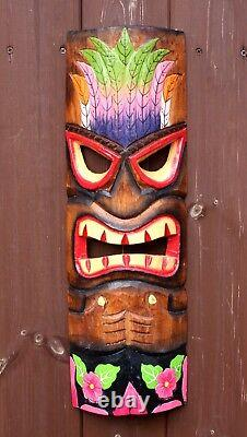 Wooden TIKI Mask 50cm Hand Carved Painted Tiki Bar Garden Pub Decor Gift Idea