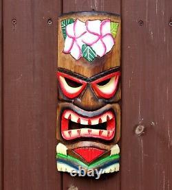 Wooden TIKI Mask Wall Hanging Large 30cm Handcarved Painted Tiki Bar Garden Pub