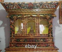 Wooden Tibetan Hand Crafted Buddhist Praying Cup Board (Chhosum)