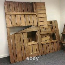 Wooden Treehouse Bunkbed / Kids House Bed Handmade Solid Pine Outdoor Theme