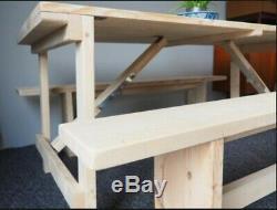 Wooden Trestle Table Folding Table reclaimed scaffold board