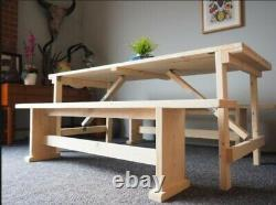 Wooden Trestle Table and 2 Benches Folding Table reclaimed scaffold board