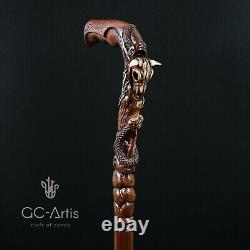 Wooden Walking cane stick Buffalo Bull Skull Snake Hand Carved Crafted Mystic